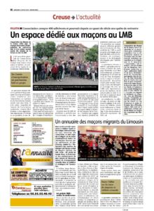 La Montagne 11/03/2020 : l'association les maçons de la Creuse en quête de mémoire